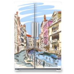Naklejka na lodówkę - Venice - Fondamenta Rio Marin. Vector sketch