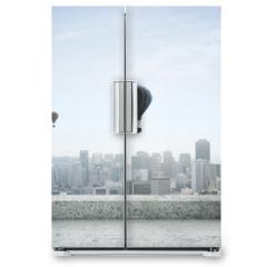 Naklejka na lodówkę - modern city