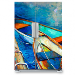 Naklejka na lodówkę - Boats and pier