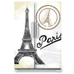 Naklejka na lodówkę - France, Paris - hand drawn Eiffel tower