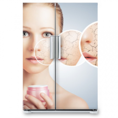 Naklejka na lodówkę - concept of cosmetic skin care.  face of young woman with dry ski