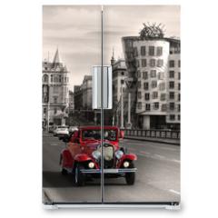 Naklejka na lodówkę - Red beautiful vintage cars in Prague