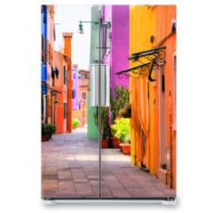 Naklejka na lodówkę - Colorful street in Burano, near Venice, Italy