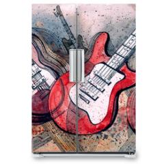 Naklejka na lodówkę - guitar music