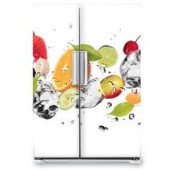 Naklejka na lodówkę - Ice fruit on white background