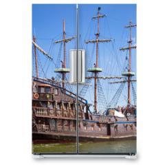 Naklejka na lodówkę - Pirate galleon ship on the water of Baltic Sea in Gdynia, Poland