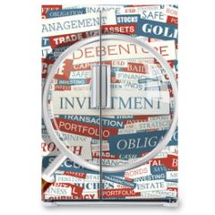 Naklejka na lodówkę - INVESTMENT. Word cloud concept illustration.