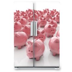 Naklejka na lodówkę - Sparschweine Gruppe - Geld sparen / 3D Illustration