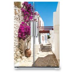 Naklejka na lodówkę - Traditional greek alley on Sifnos island, Greece