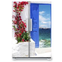 Naklejka na lodówkę - Traditional greek door on Mykonos island, Greece