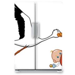 Naklejka na lodówkę - Stork and baby