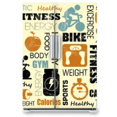 Naklejka na lodówkę - fitness pattern