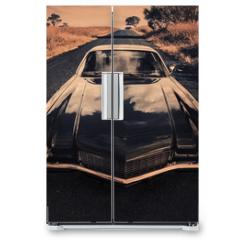 Naklejka na lodówkę - classic sports car on the countryside road