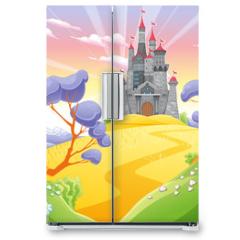 Naklejka na lodówkę - Landscape with tower.