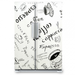 Naklejka na lodówkę - Drawing ink sketch of coffee (square)