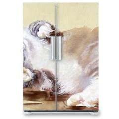 Naklejka na lodówkę - Watercolor Animal Collection: Cat