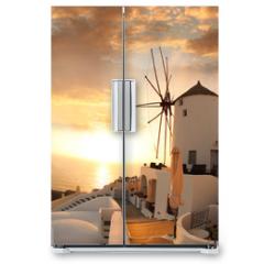 Naklejka na lodówkę - Windmill in Santorini against sunset, Greece