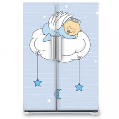 Naklejka na lodówkę - baby boy sleeping on a cloud. Birthday Card
