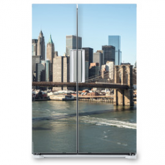 Naklejka na lodówkę - New York City Brooklyn Bridge downtown skyline