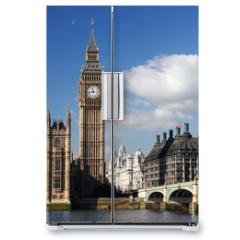 Naklejka na lodówkę - Big Ben with red telephone box in London, England