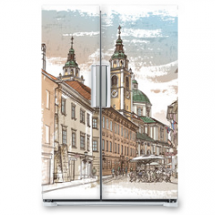 Naklejka na lodówkę - Vector drawing of central street of old european town