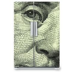Naklejka na lodówkę - one hundred dollar bill closeup