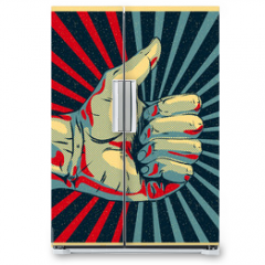 Naklejka na lodówkę - Hand showing thumbs up, vector Eps10 illustration.