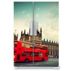 Naklejka na lodówkę - London, the UK. Red bus in motion and Big Ben