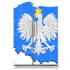 Naklejka na lodówkę - godło Polski i mapa