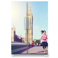 Naklejka na lodówkę - London woman running Big Ben - England lifestyle