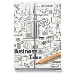 Naklejka na lodówkę - Business Idea doodles icons set. Vector illustration.