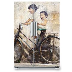 "Naklejka na lodówkę - ""Little Children on a Bicycle"" Mural."
