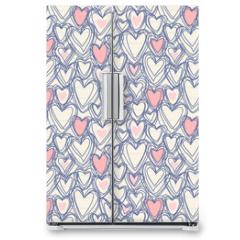Naklejka na lodówkę - Seamless pattern with doodle hearts