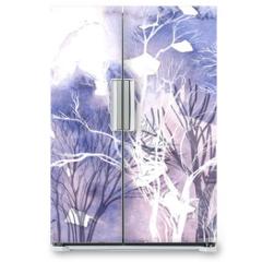 Naklejka na lodówkę - Abstract silhouette of trees