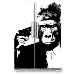 Naklejka na lodówkę - Suicide man with gorilla head