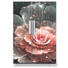 Naklejka na lodówkę - pink and gray abstract  flower