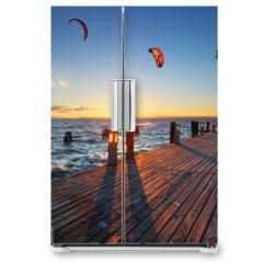 Naklejka na lodówkę - Lighthouse at Lake Neusiedl at sunset