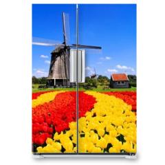 Naklejka na lodówkę - Vibrant tulips with windmill, Netherlands