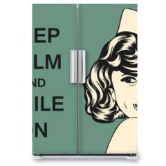 Naklejka na lodówkę - pop art retro woman in comics style