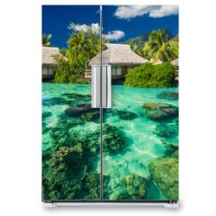 Naklejka na lodówkę - Beautiful above and underwater landscape of a tropical resort