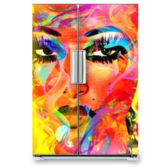 Naklejka na lodówkę - Modern digital art image of a woman's face