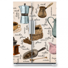 Naklejka na lodówkę - Vintage coffee handdrawn set