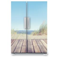 Naklejka na lodówkę - Beach and Wooden Plank