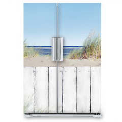 Naklejka na lodówkę - Beach and White Wooden Fence