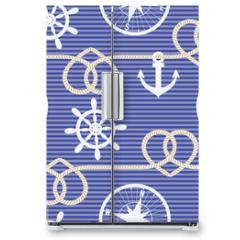 Naklejka na lodówkę - Nautical seamless pattern