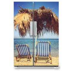 Naklejka na lodówkę - Sunbeds with umbrella on the beach