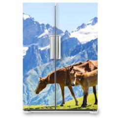 Naklejka na lodówkę - Horse in mountains