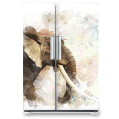 Naklejka na lodówkę - Watercolor Image Of  Elephant