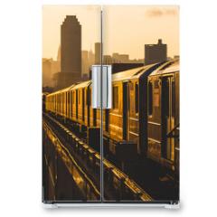 Naklejka na lodówkę - Subway Train in New York at Sunset