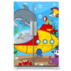 Naklejka na lodówkę - animals on submarine - vector  illustration, eps